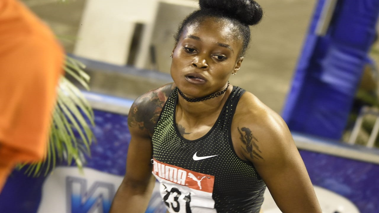 Double Olympic sprint champion Elaine Thompson following her victory over Shelly-Ann Fraser-Pryce in the women's 100-metre final on the second day of the four-day National Junior and Senior Championships at the National Stadium on Friday night.