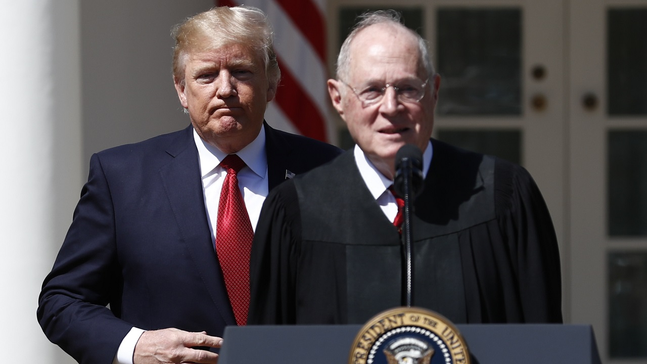 (Image: AP: President Donald Trump (L) and Supreme Court Justice Anthony Kennedy, pictured on  10 April 2017)