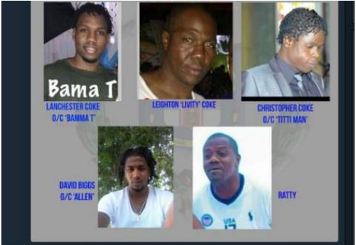 Five of the seven accused persons who jointly appeared on murder charges in the Kingston and St Andrew Parish Court on Wednesday.