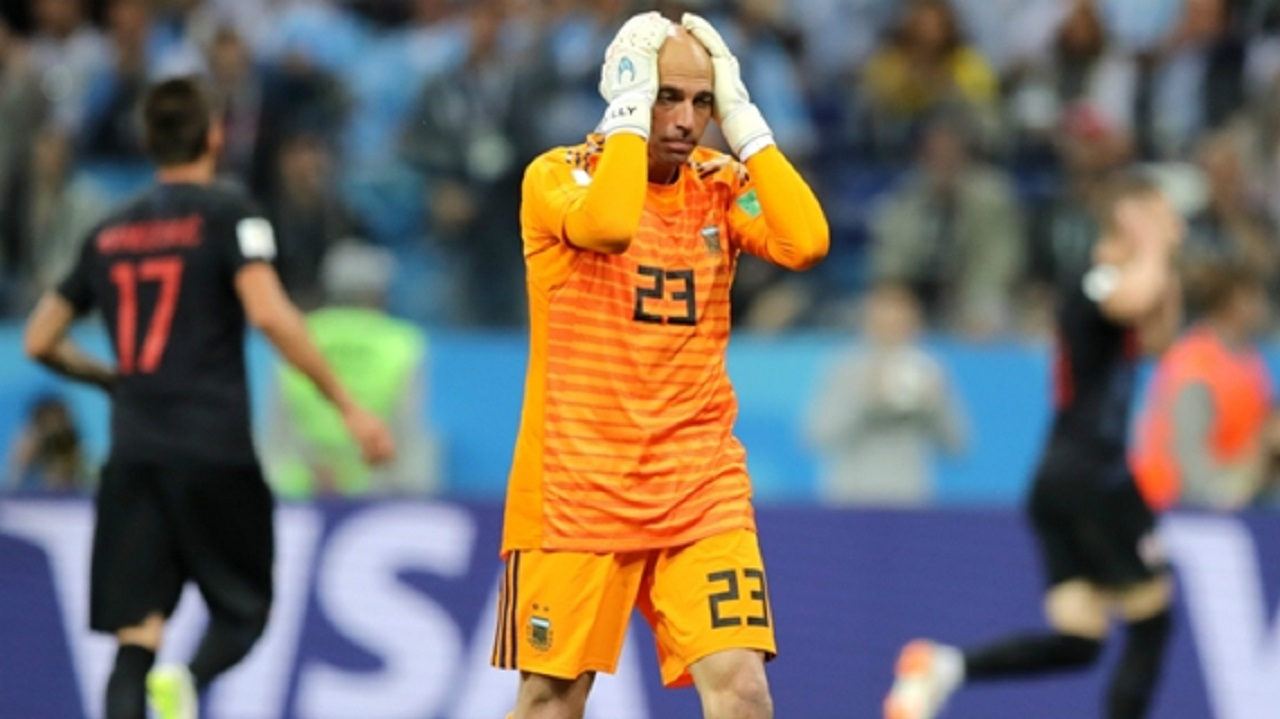 Willy Caballero reacts after his mistake against Croatia.