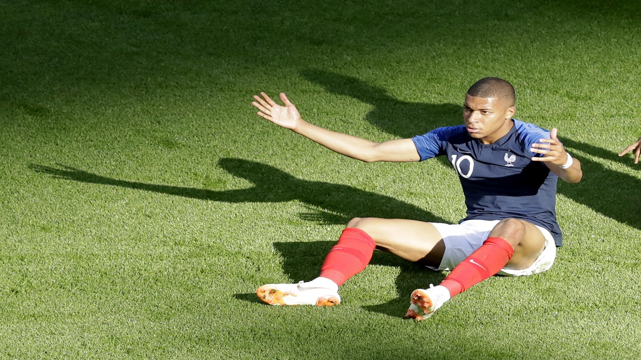 France's Kylian Mbappe gestures during the round of 16 match against Argentina, at the 2018 football World Cup at the Kazan Arena in Kazan, Russia, Saturday, June 30, 2018. (AP Photo/Sergei Grits).