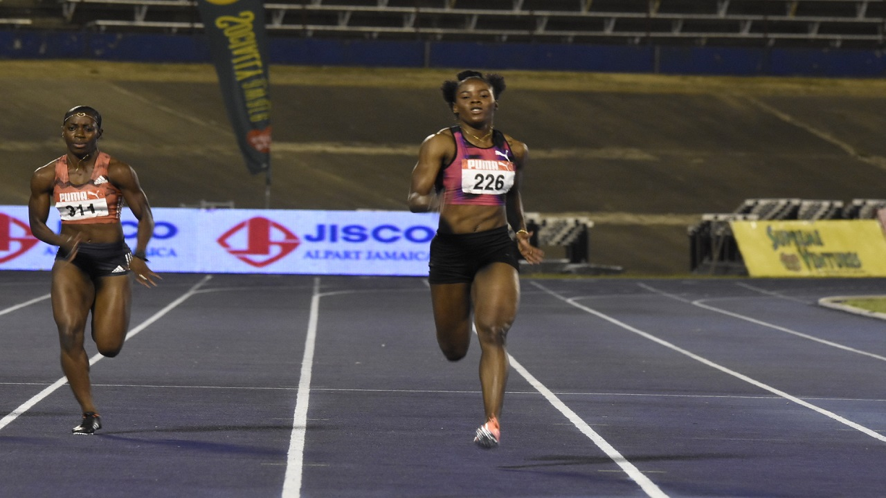 Shericka Jackson of MVP Track Club wins the women's 200-metre final at the JAAA/Supreme Ventures Limited National Junior and Senior Championships, at the National Stadium on Sunday night. (Photo: Marlon Reid).