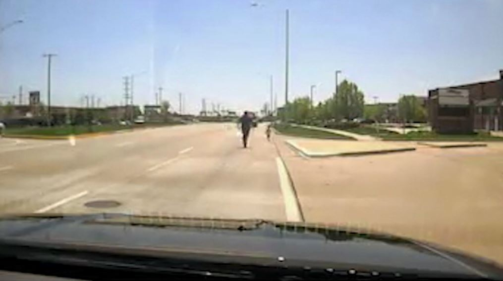 Toddler wandering dangerously close to highway rescued by quick-thinking officer