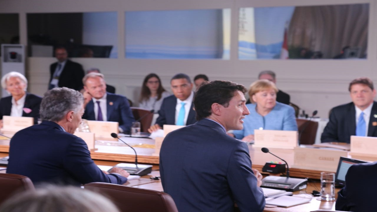 Prime Minister Andrew Holness seated at the table with other world leaders at the G7 Summit on Saturday. (PHOTO: OPM)
