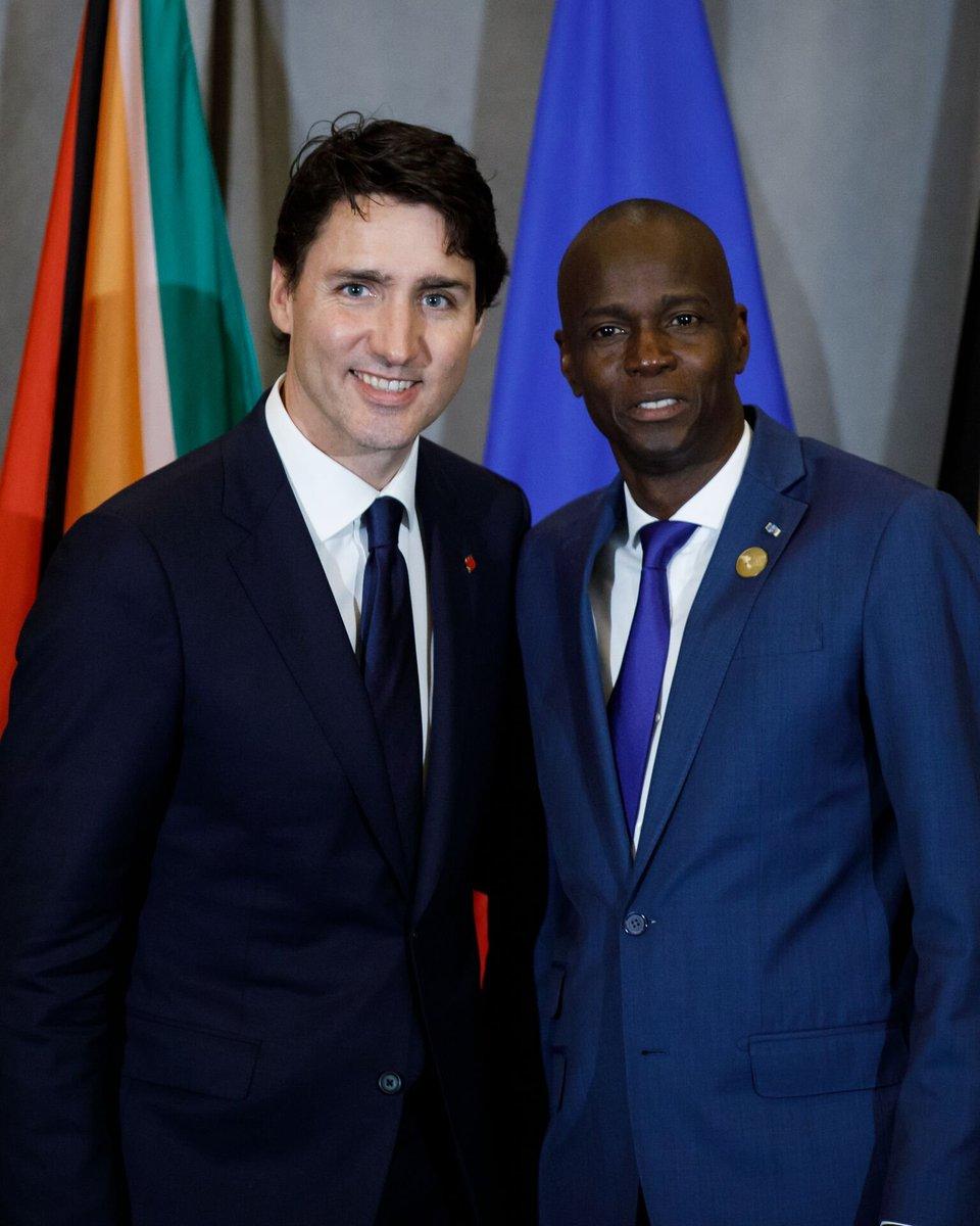 Le premier ministre canadien, Justin Trudeau et le président d'Haïti, Jovenel Moïse./ Photo : André Frenette (Twitter)