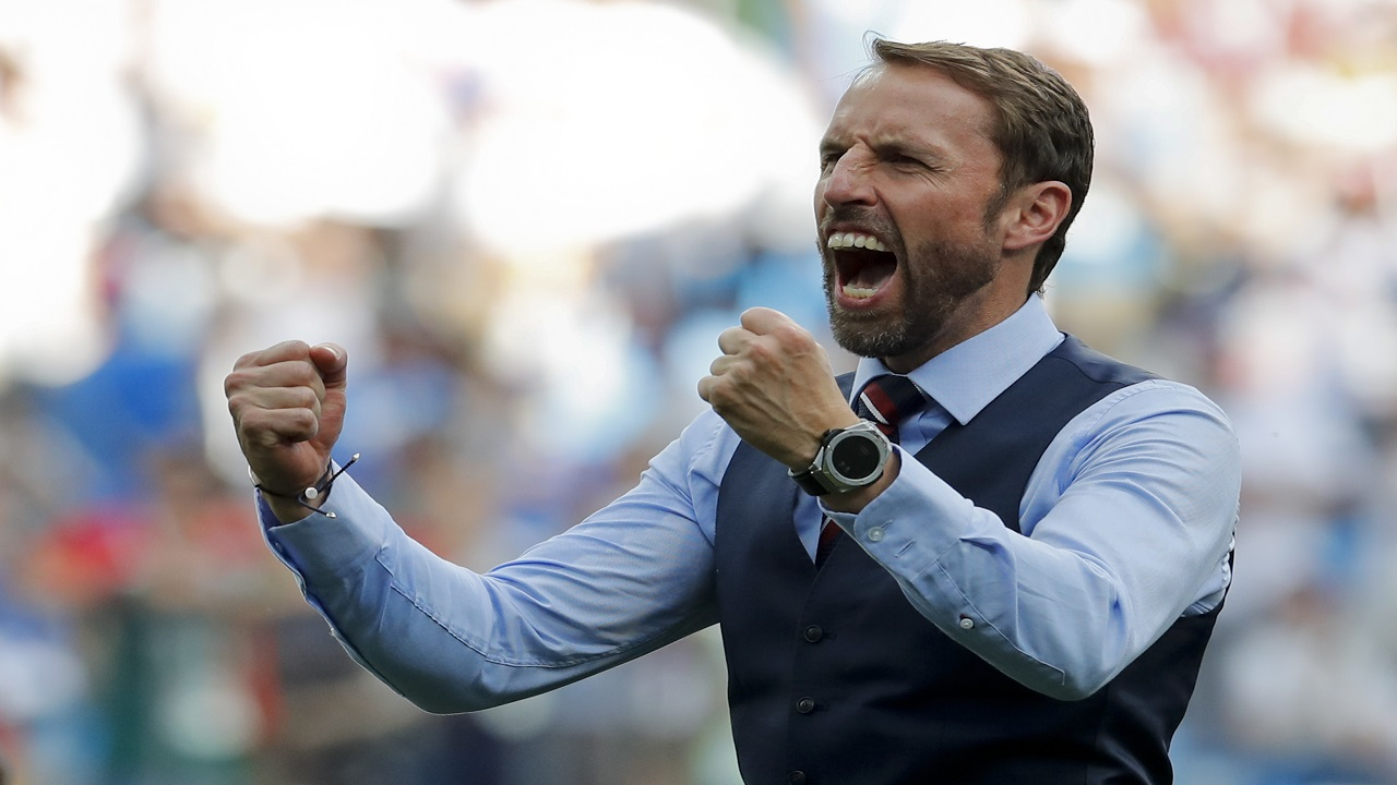 England head coach Gareth Southgate celebrates his team's 6-1 victory at the end of the group G match against Panama at the 2018 football World Cup at the Nizhny Novgorod Stadium in Nizhny Novgorod , Russia, Sunday, June 24, 2018. (AP Photo/Antonio Calanni)