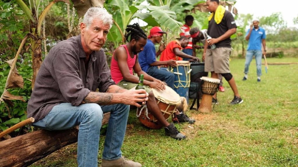 "Anthony Bourdain on set of his popular ""Parts Unknown"" series."