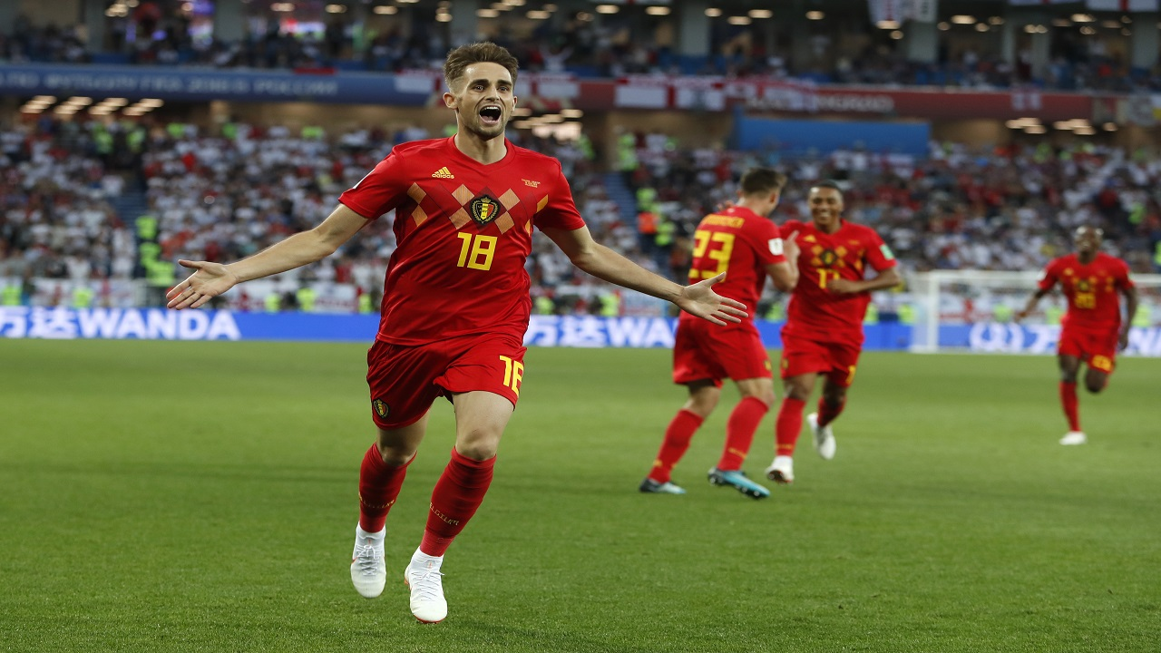 Belgium's Adnan Januzaj celebrates after scoring during the group G match against England at the 2018 football World Cup in the Kaliningrad Stadium in Kaliningrad, Russia, Thursday, June 28, 2018. (AP Photo/Alastair Grant).