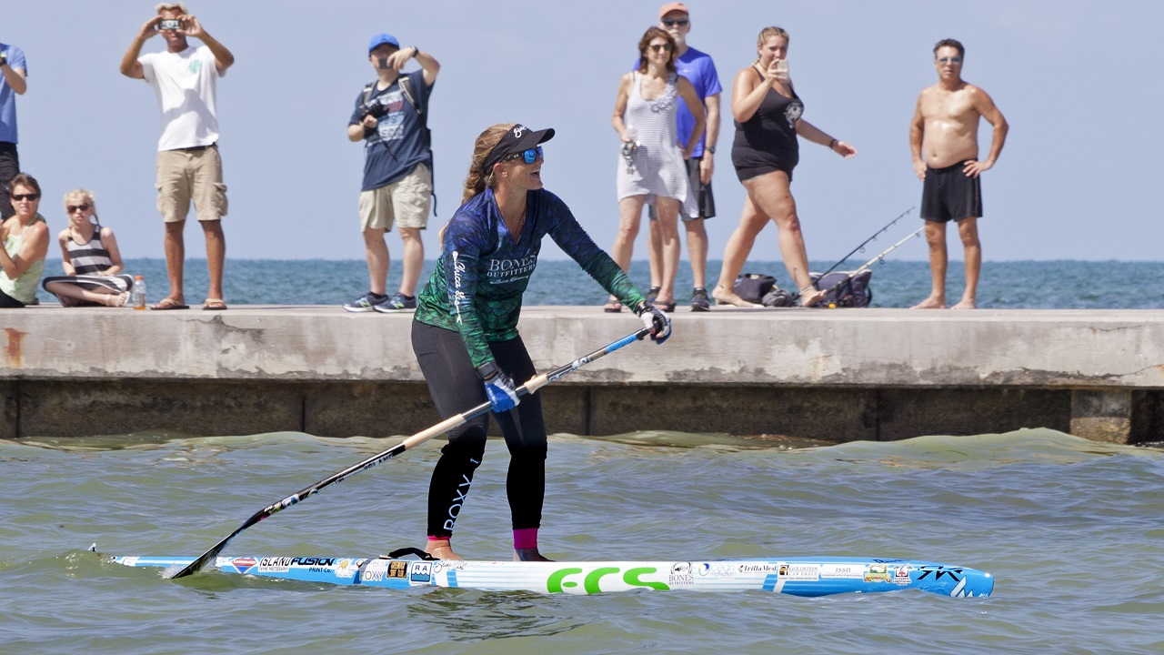 (Image: AP: Victoria Burgess paddles into Key West on 27 June 2018)