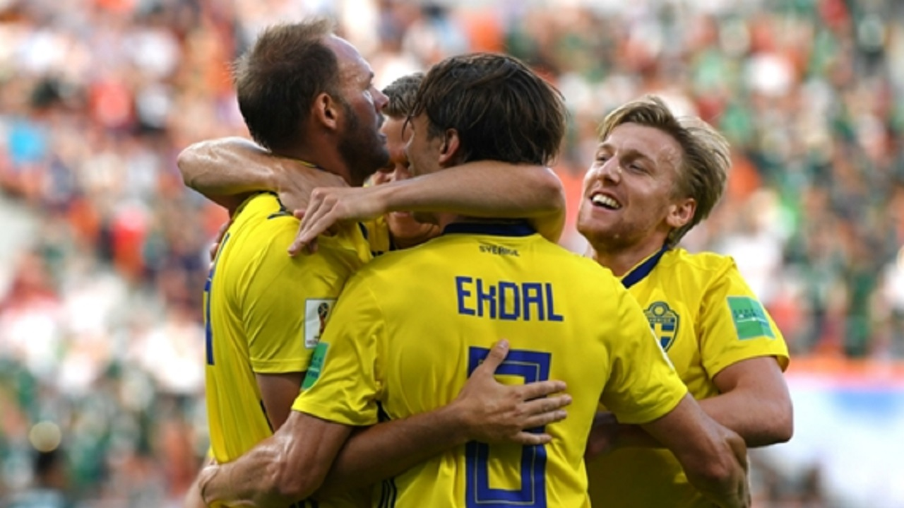 Sweden players celebrate their win over Mexico on Wednesday.