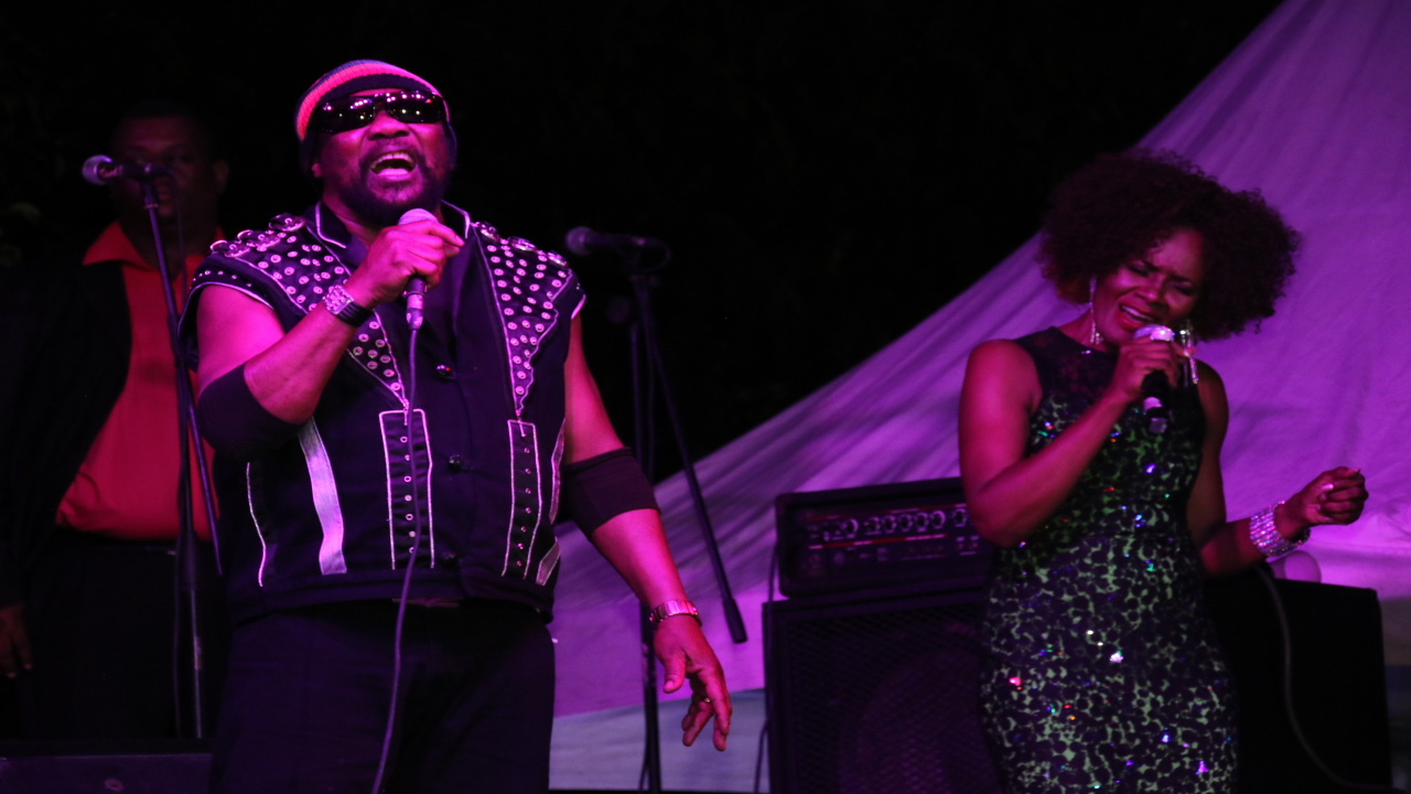 Gem Myers with Toots Hibbert on stage. (PHOTOS: Llewellyn Wynter)