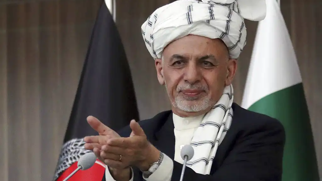 FILE - In this Feb. 23, 201, file photo, Afghanistan's President Ashraf Ghani speaks during the integration ceremony of TAPI pipeline in Herat city, west of Kabul, Afghanistan. (AP Photo/Hamed Sarfarazi)