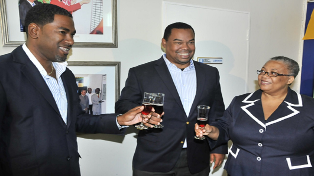 L-R: Medical Disposables (MD) General Manager Kurt Boothe celebrates with Gary Peart, CEO of Mayberry, lead broker of MD's IPO and JSE Managing Director Marlene Street Forrest at MD's listing in 2013.