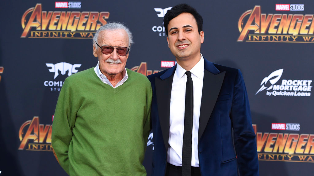 "FILE - In this April 23, 2018 file photo, Stan Lee, left, and Keya Morgan arrive at the world premiere of ""Avengers: Infinity War"" in Los Angeles. (Photo by Jordan Strauss/Invision/AP, File)"