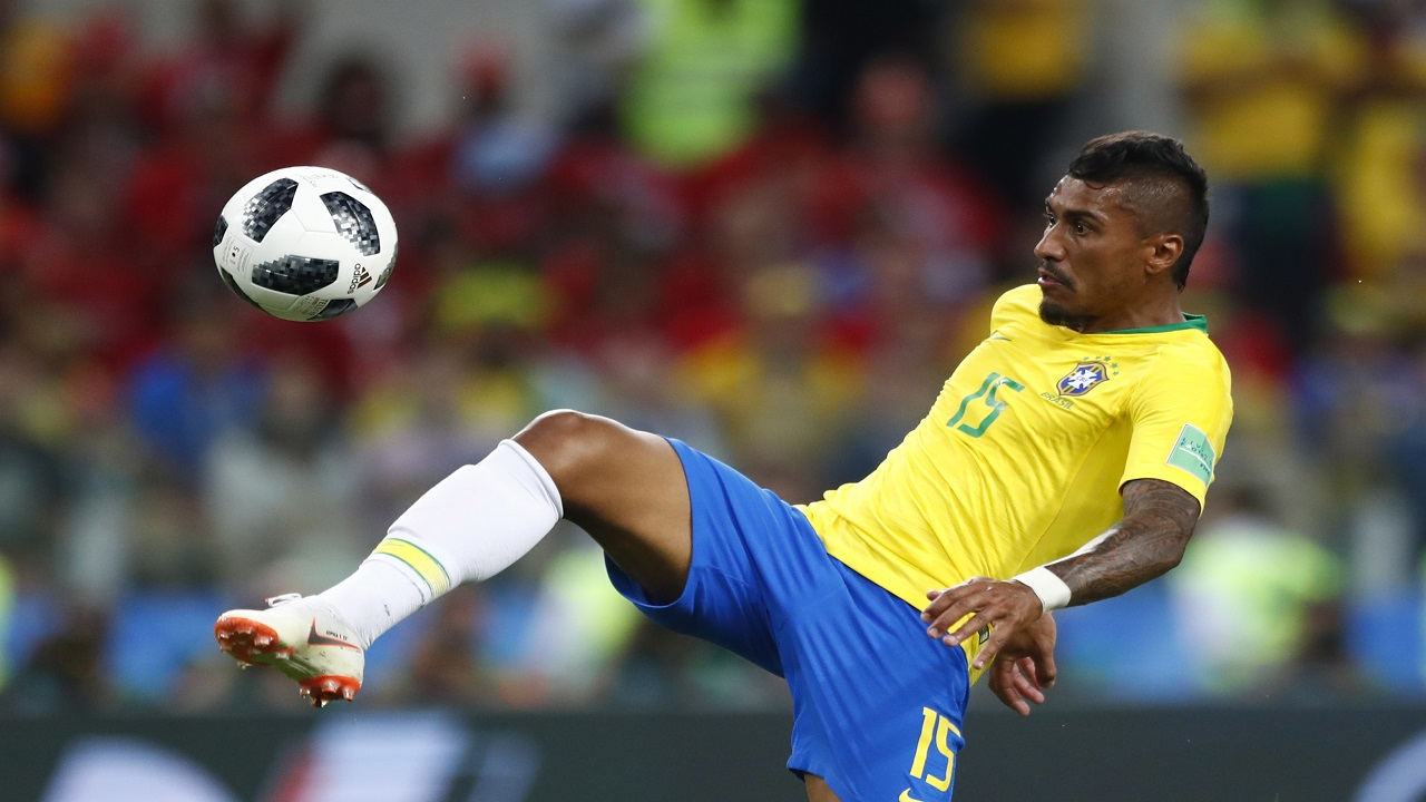 Brazil's Paulinho scores his side's opening goal during the group E match against Serbia at the 2018 football World Cup in the Spartak Stadium in Moscow, Russia, Wednesday, June 27, 2018. (AP Photo/Matthias Schrader)
