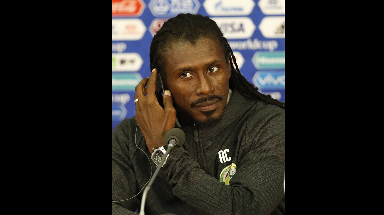 Senegal coach Aliou Cisse attends a press conference before the team's official training on the eve of the group H match between Poland and Senegal at the 2018 World Cup (AP Photo/Eduardo Verdugo)