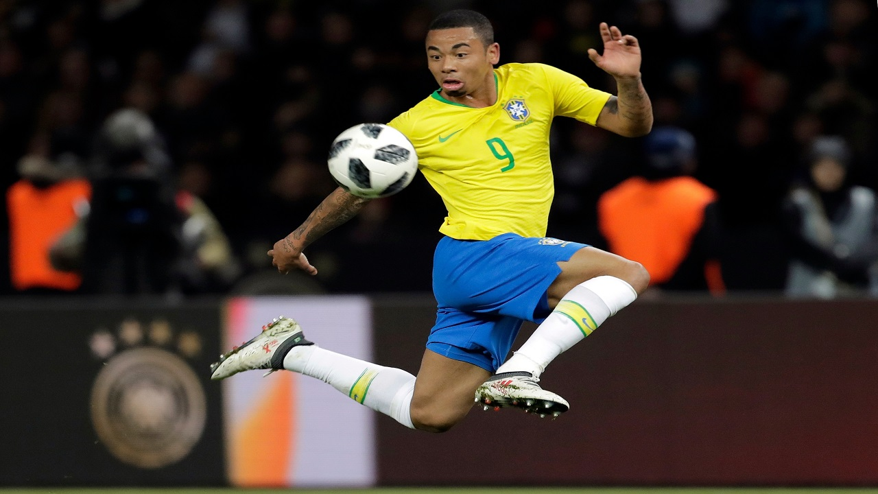 In this photo taken on Tuesday, March 27, 2018, Brazil's Gabriel Jesus controls the ball during the international friendly soccer match between Germany and Brazil in Berlin. (PHOTOS: AP)