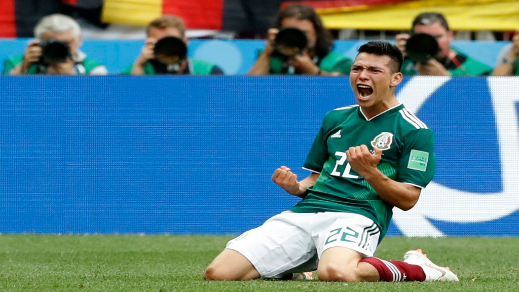 Mexico's Hirving Lozano, celebrates his goal during the group F match against Germany at the 2018 football World Cup in the Luzhniki Stadium in Moscow, Russia, Sunday, June 17, 2018. (AP Photo/Antonio Calanni).