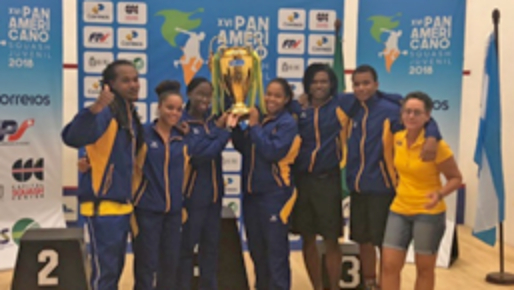 Barbados Team with overall Champions Trophy L-R: Coach Rhett Cumberbatch, Amanda Haywood, Jada Smith-Padmore, Meagan Best, Josiah Griffith, Khamal Cumberbatch, Team Manager Josephine Haywood.