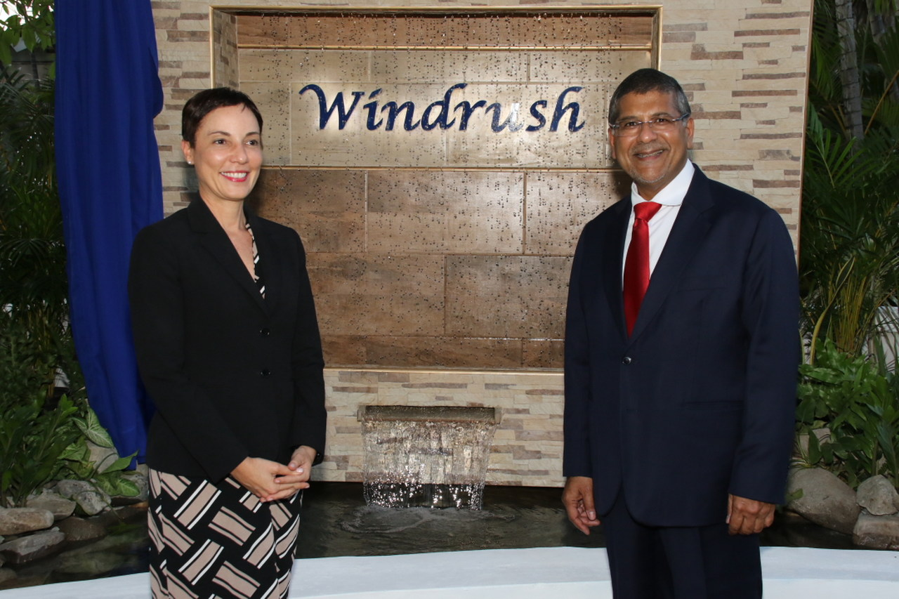 Foreign Affairs Minister Kamina Johnson Smith with British High Commissioner Asif Ahmad.