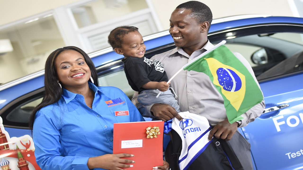 Shackara Watson, the winner of the Hyundai Fortune Drive To Russia promotion, with partner Chauvin Allen and their son, Aiden. (PHOTOS: Marlon Reid)