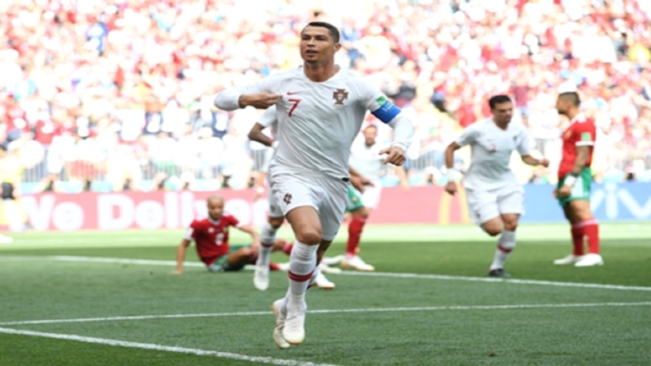 Portugal's Cristiano Ronaldo celebrates after scoring during the group B match  against Morocco at the 2018 football World Cup in the Luzhniki Stadium in Moscow, Russia, Wednesday, June 20, 2018.