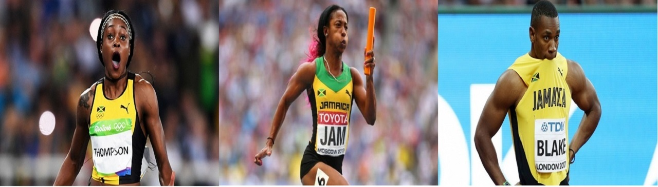 Elaine Thompson (left), Shelly-Ann Fraser-Pryce (centre) and Yohan Blake are among the elite athletes listed to compete at the National Senior Championships at the National Stadium from June 21-24.