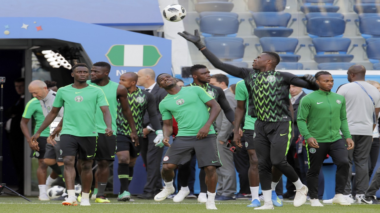 Nigeria's players attend official training in St.Petersburg, Monday, June 25, 2018 on the eve of the group D match between Nigeria and Argentina at the 2018 soccer World Cup in the Saint Petersburg Arena. (AP Photo)