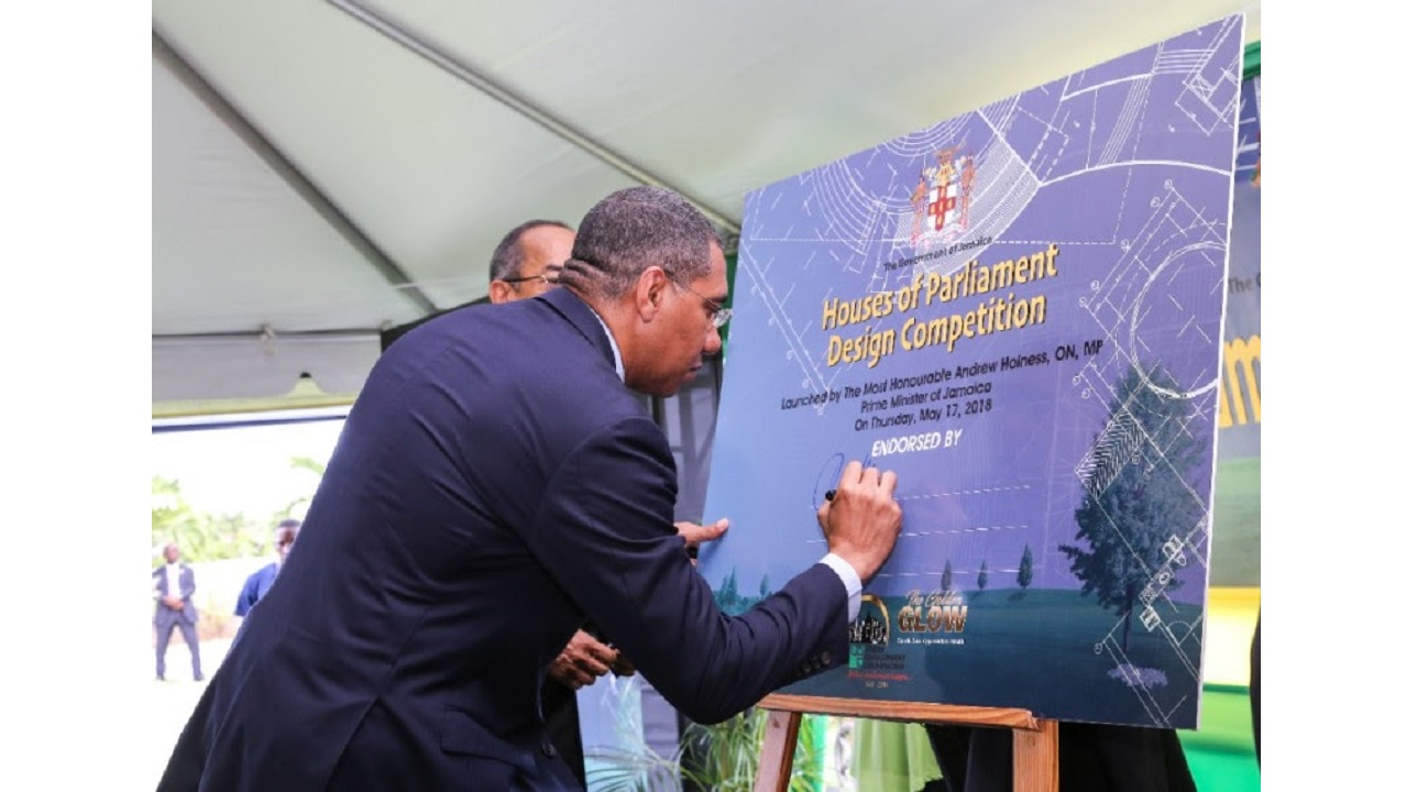 Prime Minister Andrew Holness endorsed the Houses of Parliament Design Competition at the Launch held on Thursday, May 17 at the National Heroes Park.
