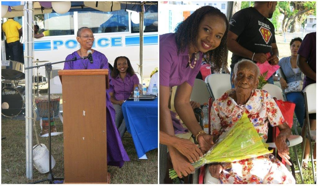 (Left) Dr Jennifer Rouse, Director of the Division of Ageing delivers the feature address at the TTPS Victim and Witness Support Units' World Elder Abuse Awareness Day event (Right) Mrs. Aisha Corbie, Manager of the Victim and Witness Support Unit presents a bouquet of flowers to 102-year-old Esther Waldron (F) at the TTPS Victim and Witness Support Units' World Elder Abuse Awareness Day event