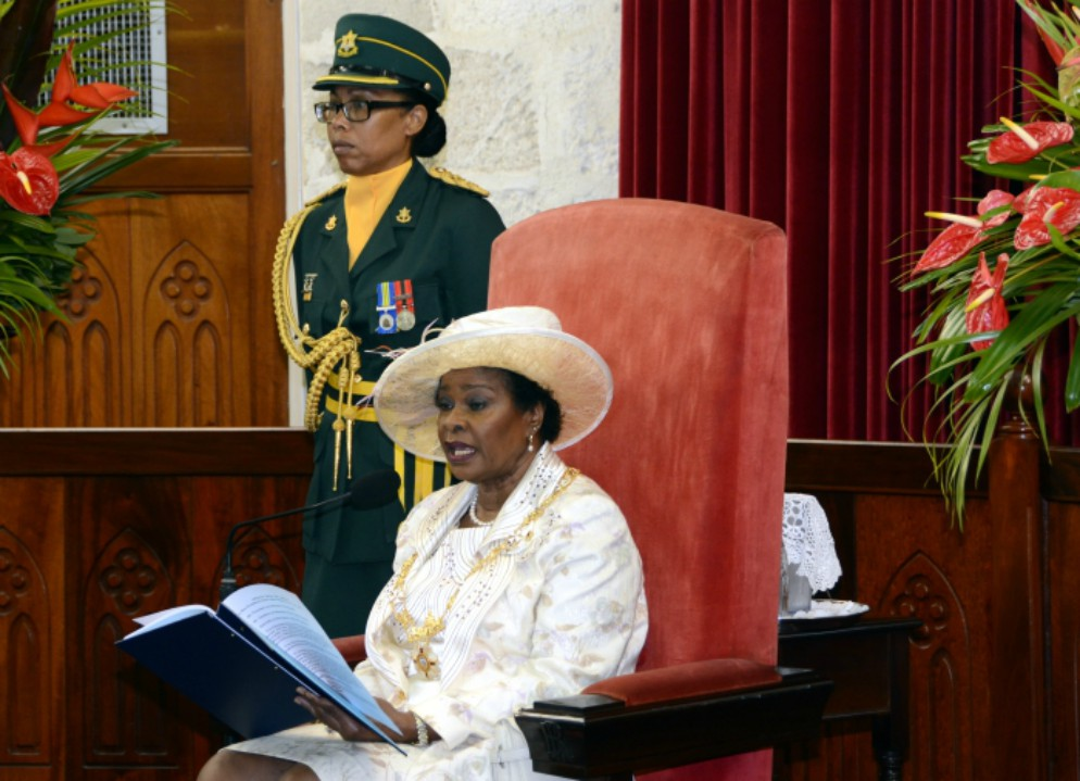 Governor General Dame Sandra Mason delivering the Throne Speech at the State Opening of Parliament in the Senate Chamber today. (B.Hinds/BGIS)