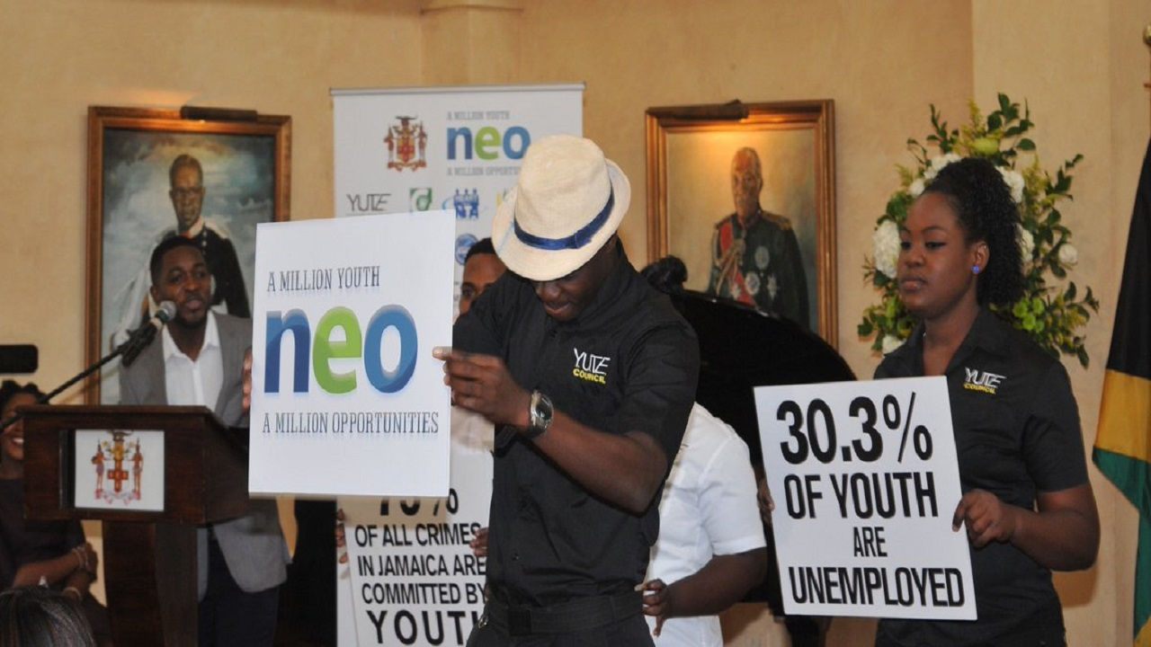 Participants in the New Employment Opportunities for Youth (NEO), highlight the objectives of the programme at the launch of the programme in 2016 at the ICD Group  building in downtown, Kingston.