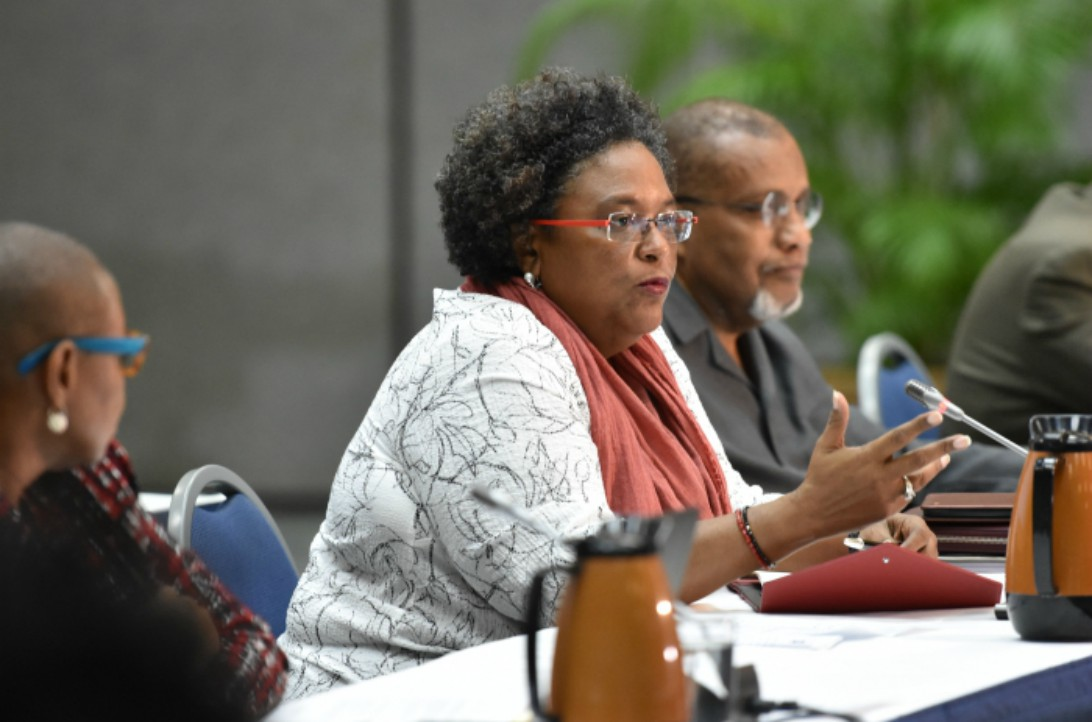 Prime Minister Mia Amor Mottley addressing the dialogue between Ministers and the Committee of Permanent Secretaries and Related Grade, at the Lloyd Erskine Sandiford Centre today. (C.Pitt/BGIS)