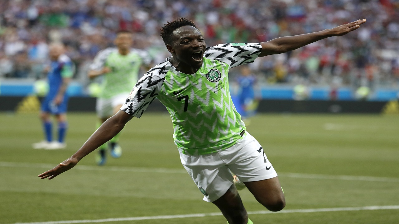 Nigeria's Ahmed Musa celebrates after scoring his team's second goal during the group D match against Iceland at the 2018football World Cup in the Volgograd Arena in Volgograd, Russia, Friday, June 22, 2018. (AP Photo/Darko Vojinovic).