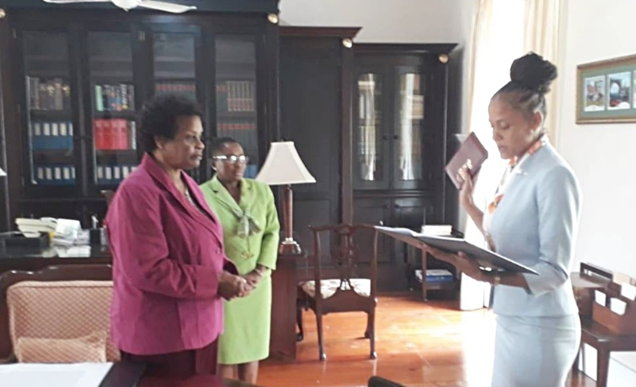 Minister Santia Bradshaw being sworn in.