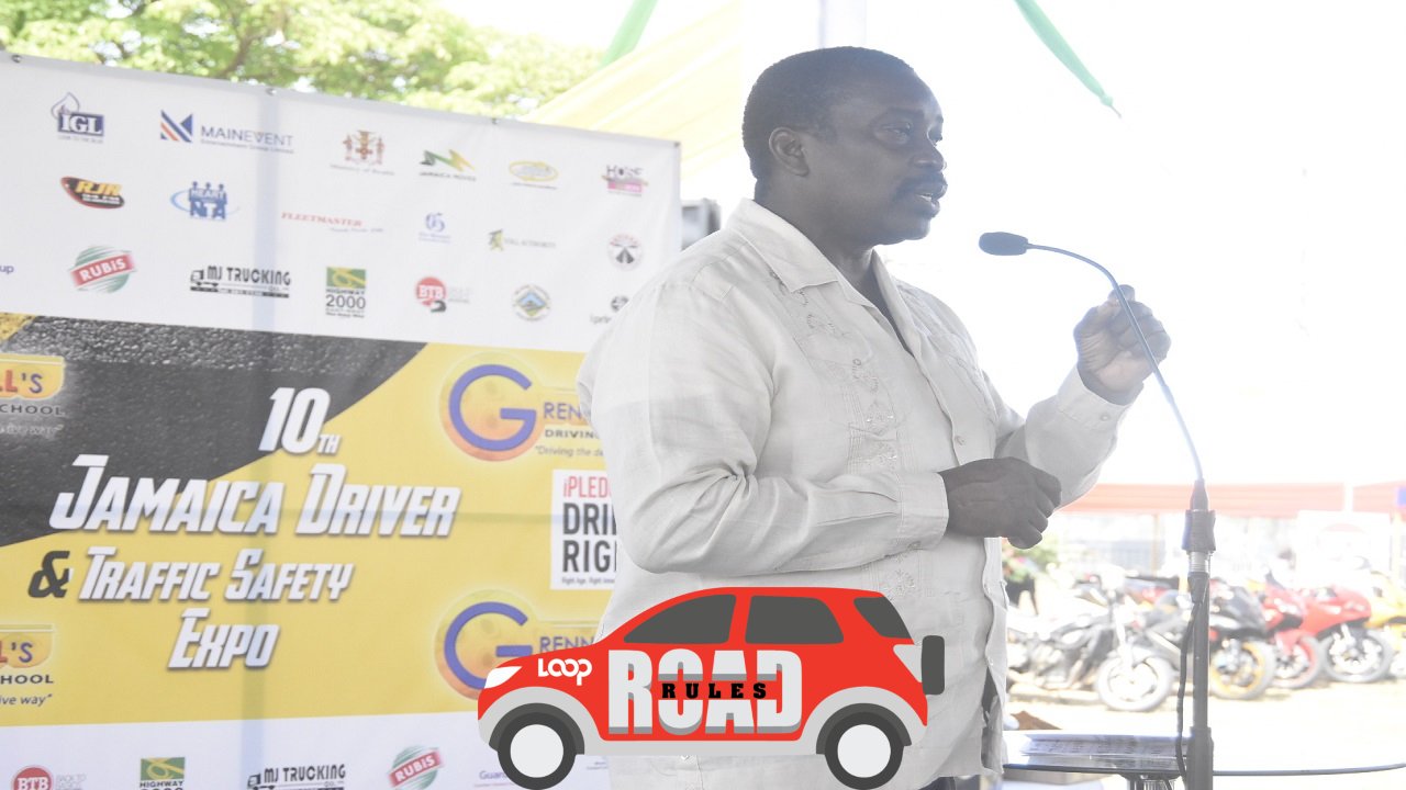 Transport Minister Robert Montague speaks at the 10th Jamaica Driver and Traffic Safety Expo at Ranny Williams Entertainment Centre in Kingston. (PHOTOS: Marlon Reid)