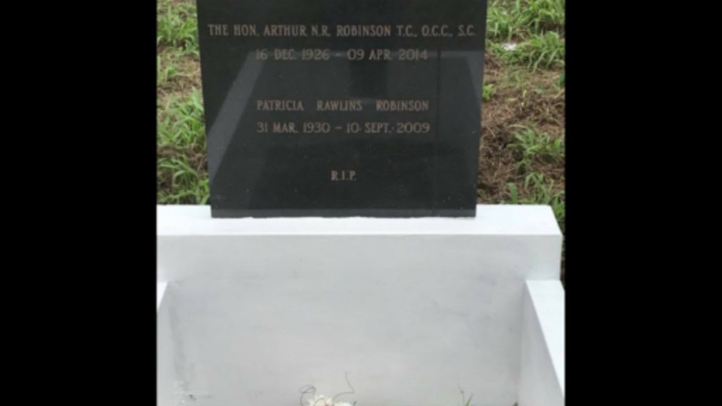 The grave of former President and Prime Minister of Trinidad and Tobago, Arthur NR Robinson received a much needed facelift on Saturday. Photo via Facebook, Kevan Gibbs.