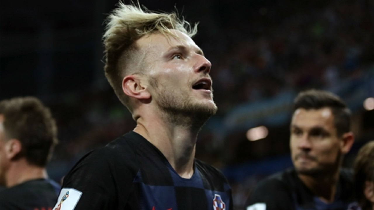 Croatia midfielder Ivan Rakitic celebrates.