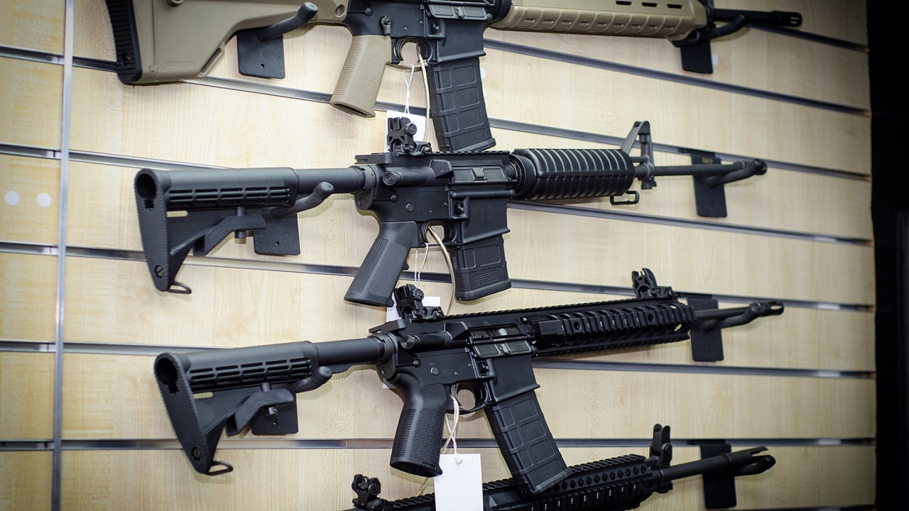 Stock photo of M16 rifles.