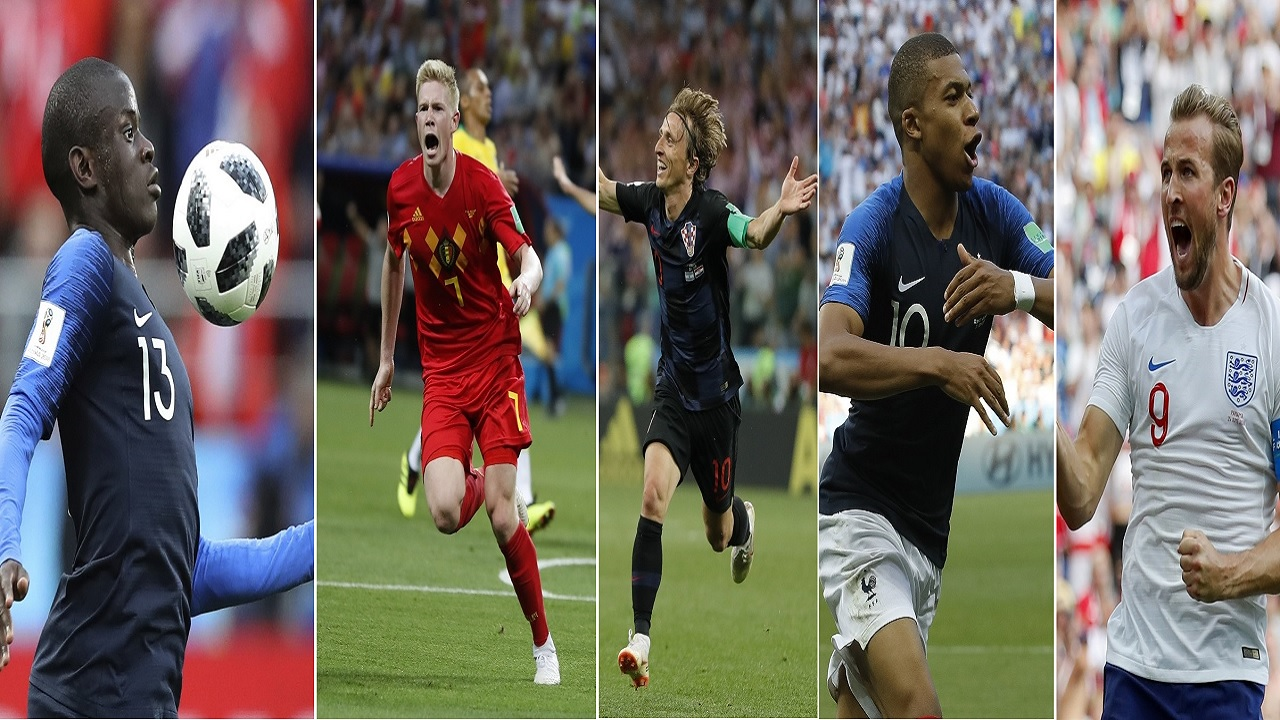 (From left) France's Ngolo Kante; Belgium's Kevin De Bruyne; Croatia's Luka Modric; France's Kylian Mbappe and Emgland's Harry Kane. (PHOTOS: AP)