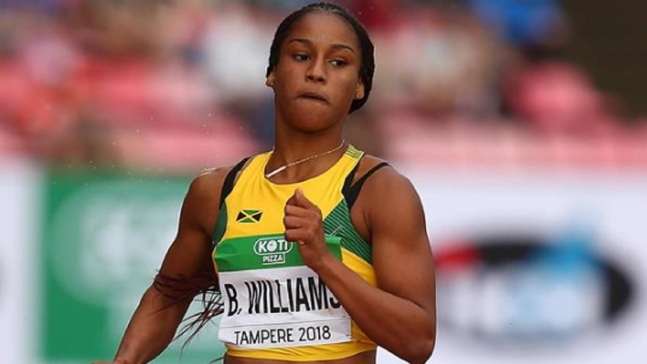 US-based Jamaican Briana Williams competing at the IAAF World U20 Championships in Tampere, Finland on Friday. (PHOTO: Courtesy of IAAF).