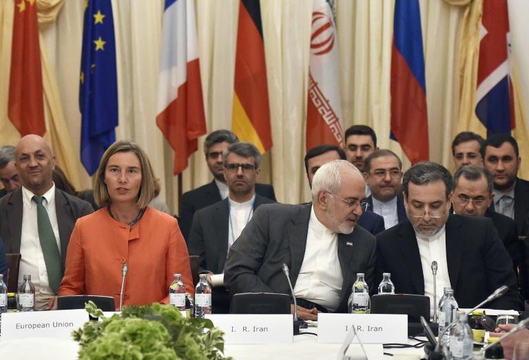 La représentante de la diplomatie européenne, Federica Mogherini, et le ministre des Affaires étrangères iranien Mohammad Javad Zarif à Vienne le vendredi 6 juillet pour une réunion destinée à sauver l'accord sur le nucléaire