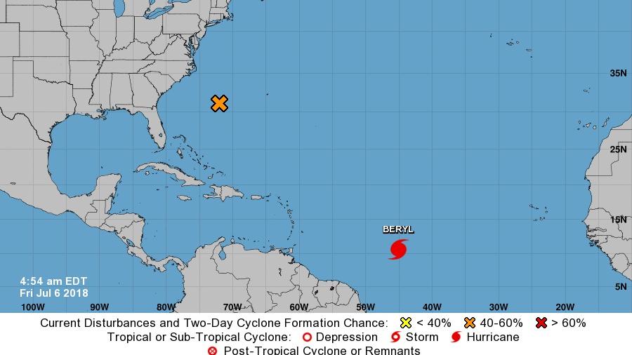 Category 1 Beryl becomes first hurricane of Atlantic season