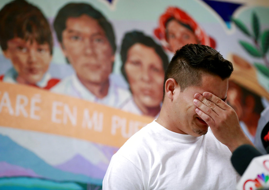 Christian, from Honduras, recounts his separation from his child at the border during a news conference at the Annunciation House,in El Paso, Texas.  (AP Photo/Matt York, File)