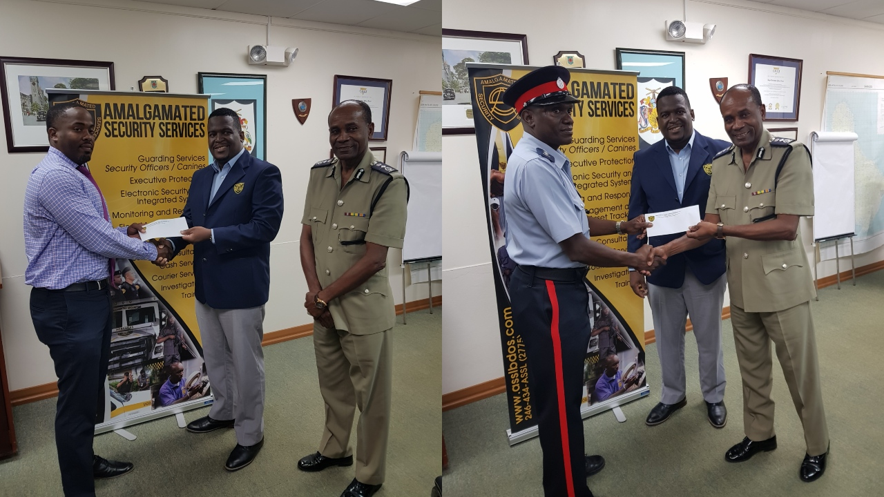 Left Photo:  Sergeant Mitchell Roach receives his award from General Manager of Amalgamated Security Services, Andre Coore, while Commissioner of Police, Tyrone Griffith, looks on.