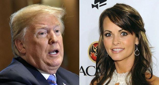 Montage photos du 20 juillet 2018, montrant le président américain Donald Trump et l'ancienne playmate Karen McDougal