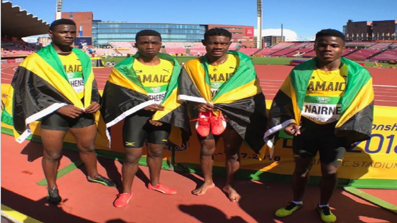 Members of the Jamaican men's 4x100m relay team that finished second for silver at the IAAF World Under-20 Championships in Tampere, Finland on Saturday's fourth and penultimate day. (From left) are Michael Stephens, Jhevaughn Matherson, Christopher Taylor and Xavier Naire.