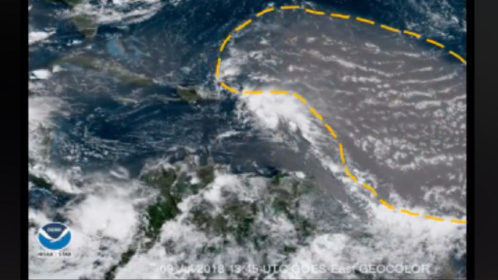 The hatched area highlights the dust plume. Photo via The Trinidad and Tobage Meteorological Service.