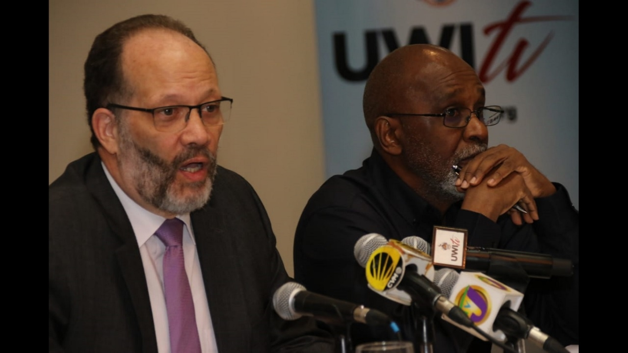 Irwin LaRocque addressing journalists at a press conference earlier this week in Jamaica.
