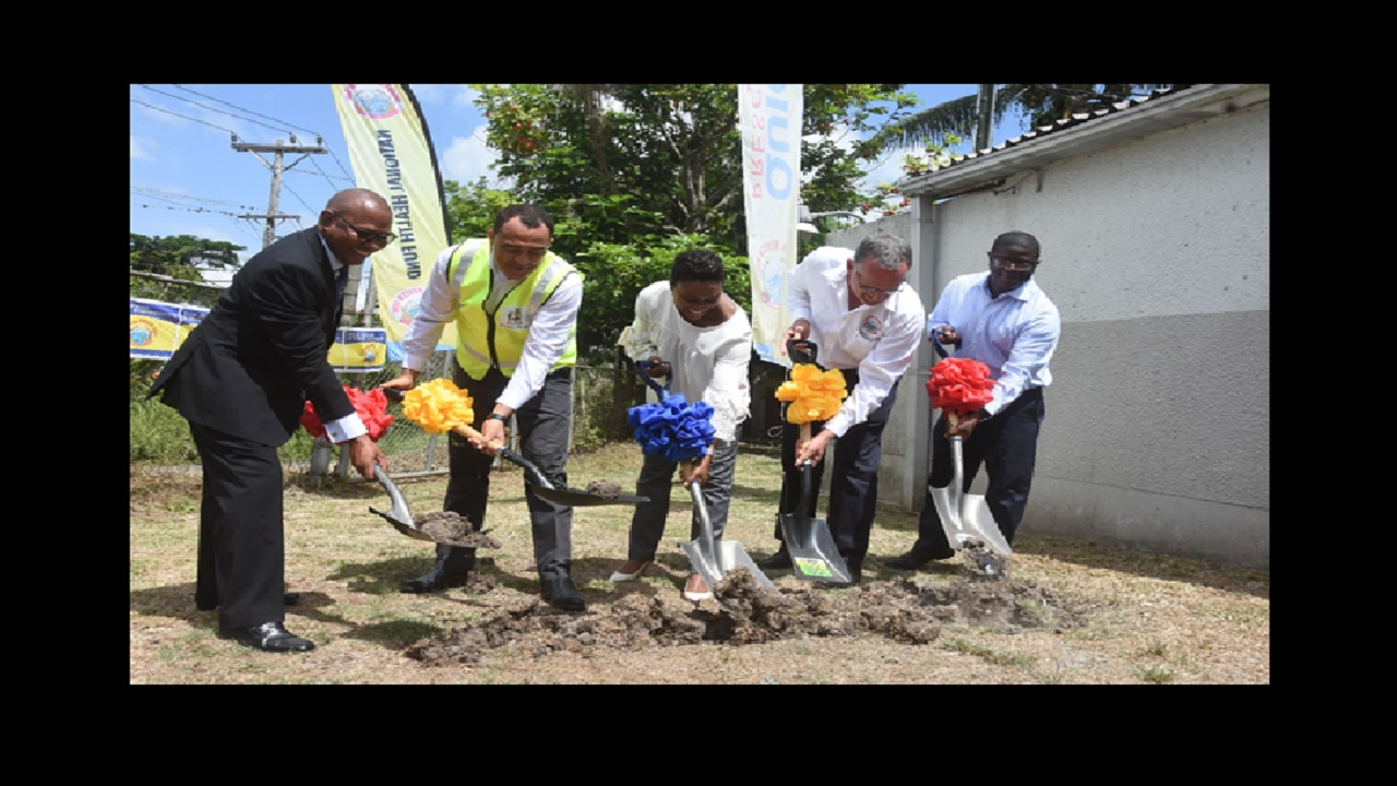From left: Mr. Anthony Wood, Acting Parish Manager, KSA Health Services; Dr The Hon. Christopher Tufton, Minister of Health; Mrs. Juliet Cuthbert-Flynn, Member of Parliament for West Rural St. Andrew; Mr.  Gregory Mair, Chairman, National Health Fund (NHF) and Mr. Everton Anderson, CEO, NHF break ground for the renovation and expansion of the Stony Hill Health Centre in Kingston.